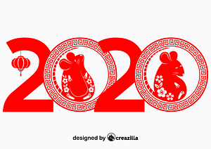 2020 Chinese Year of the Rat vector