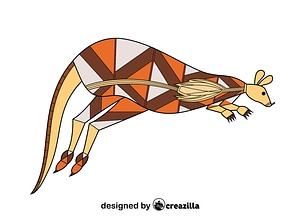 Tribal Australian Art Kangaroo vector