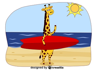 Animals on the beach - giraffe ベクターイメージ狐