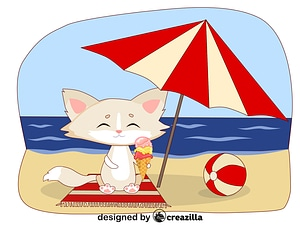 Animals on the beach - kitty vector