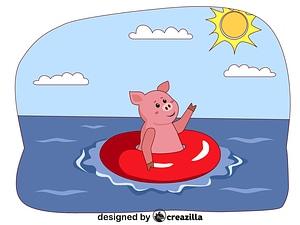 Animals on the beach - pig ベクターイメージ狐