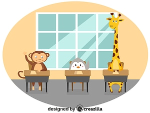 Animals at school vector
