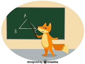 Animals at school - fox ベクターイメージ狐