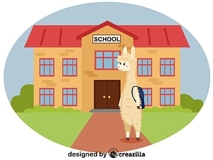 Animals at school - Llama vector