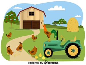 Animals on the farm - chickens vector