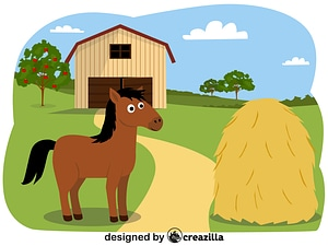 Animals on the farm - horse vector