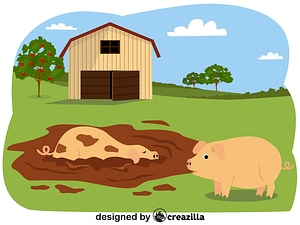Animals on the farm - pigs vector