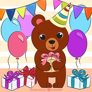 Bear's birthday vector