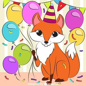 Fox's birthday vektori