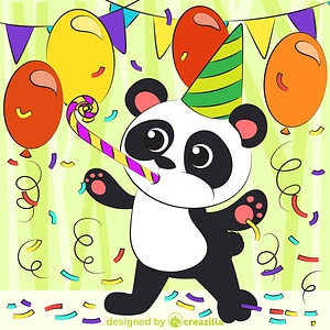 Panda's birthday vector