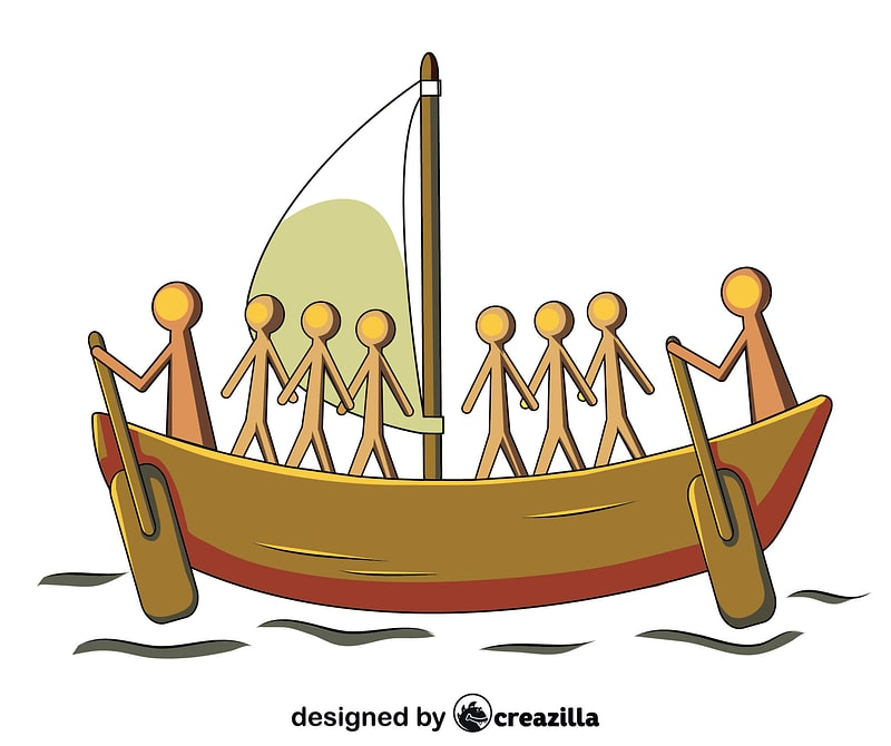 Aboriginal Painting of the Sailing Boat vector