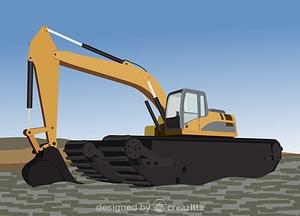 Amphibious excavator vector