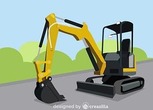 Compact excavator vector