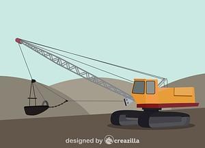 Dragline excavator vector