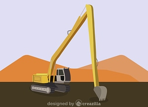 Long reach excavator vector