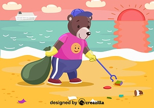 Vector de Bear cleanup the garbage