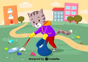 Cat cleanup the garbage vector