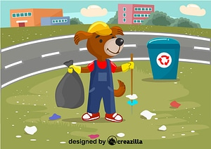 Dog cleanup the garbage vector