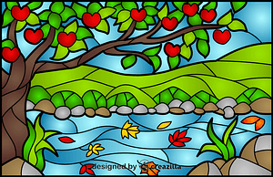 Apple Tree Stained Glass Style Illustration vector