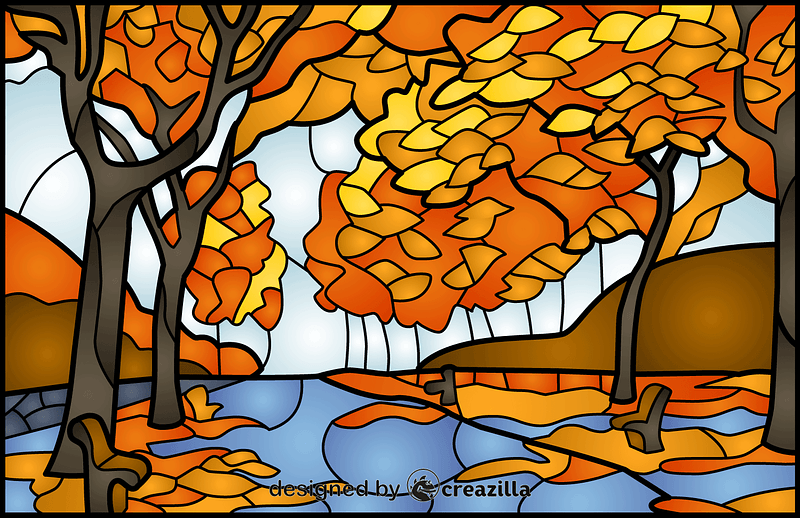 Autumn Trees Stained Glass Style Illustration vector