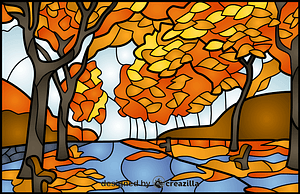 Vector de Autumn Trees Stained Glass Style Illustration