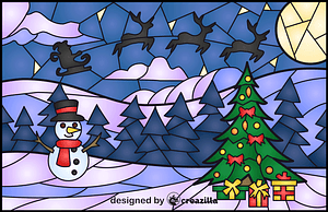Christmas Scene Stained Glass Style Illustration vector