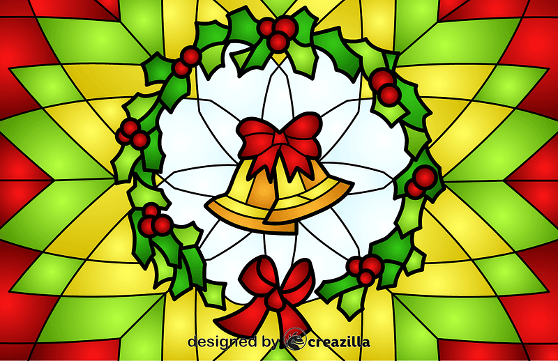 Christmas Wreath With Jingle Bells Stained Glass Style Illustration vector