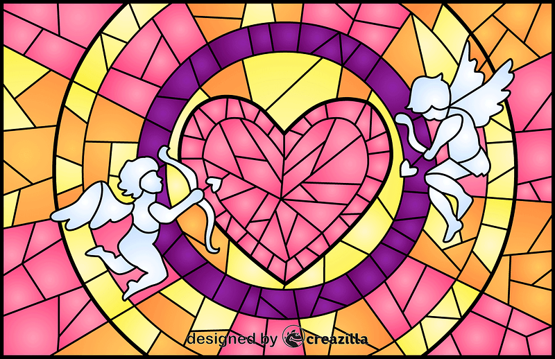 Cupids And Heart Stained Glass Style Illustration vector