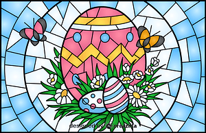 Easter Eggs Stained Glass Style Illustration vector