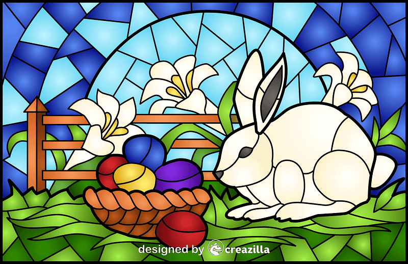 Easter Scene Stained Glass Style Illustration vector