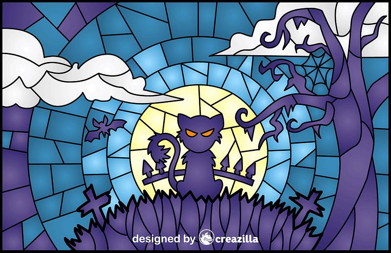 Halloween Scene Stained Glass Style Illustration vector