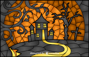 Haunted House Stained Glass Style Illustration vector