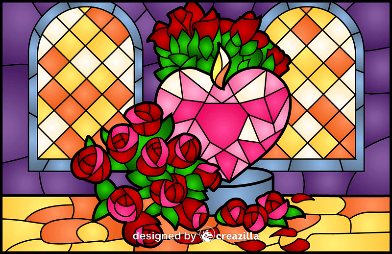 Heart And Roses Stained Glass Style Illustration vector