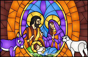 Nativity Scene Stained Glass Style Illustration vector