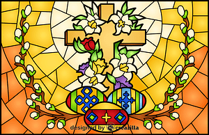 Religious Easter Stained Glass Style Illustration vector