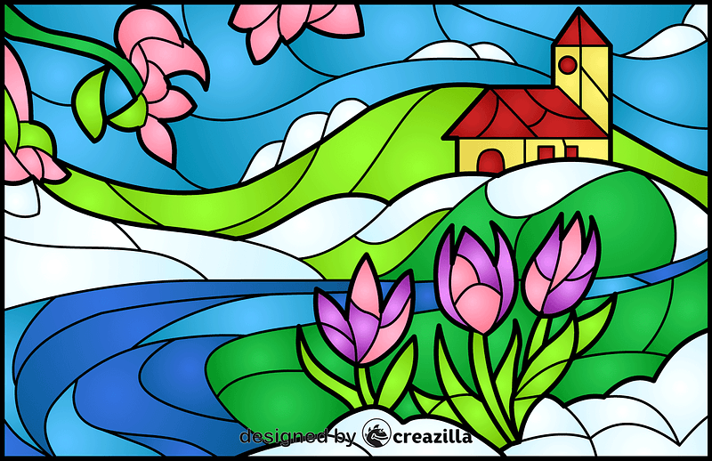 Spring Scene Stained Glass Style Illustration vector