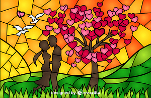 St Valentine's Day Stained Glass Style Illustration vector