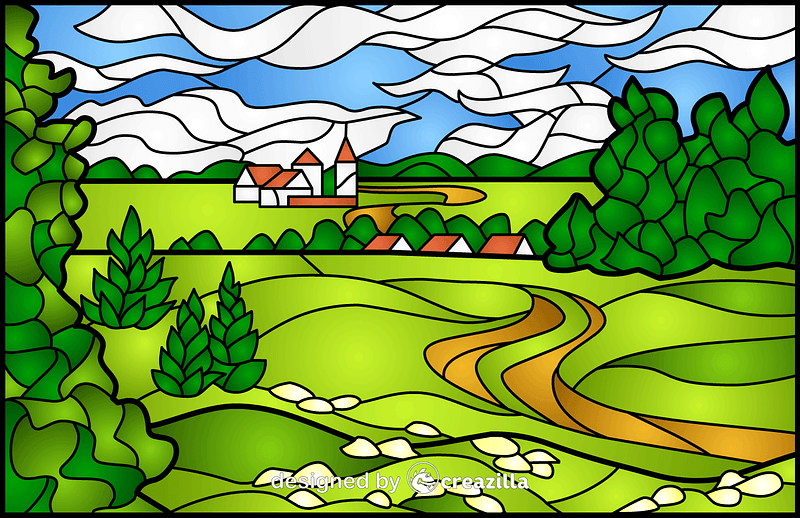 Summer Landscape Stained Glass Style Illustration vector
