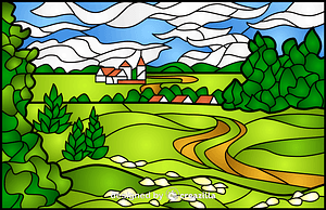 Summer Landscape Stained Glass Style Illustration vektor