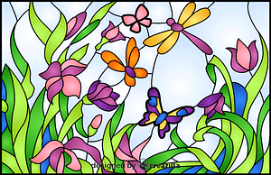 Summer Scene Stained Glass Style Illustration vector