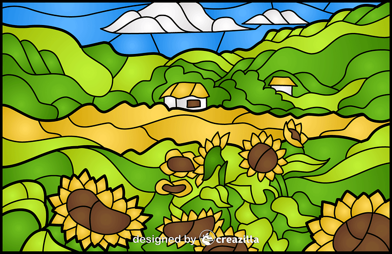 Sunflower Field Stained Glass Style Illustration vector