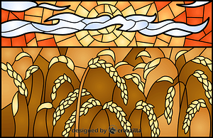 Wheat Field Stained Glass Style Illustration vector