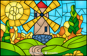 Windmill Stained Glass Style Illustration vektor