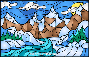 Winter Landscape Stained Glass Style Illustration vector