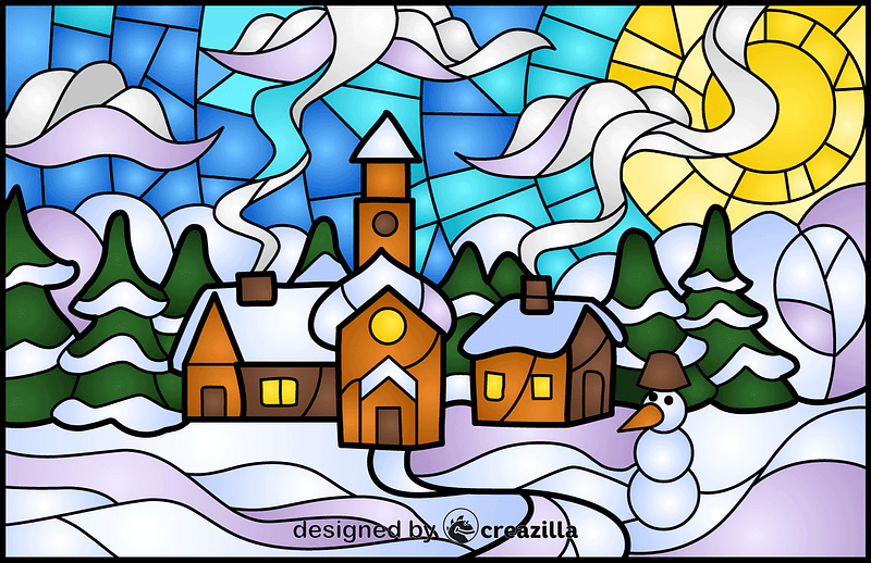 Winter Town Stained Glass Style Illustration vector