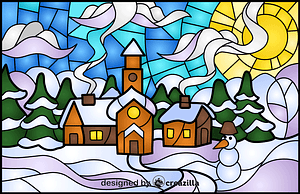 Winter Town Stained Glass Style Illustration vektor