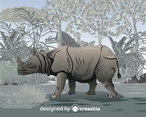 Javan rhino vector