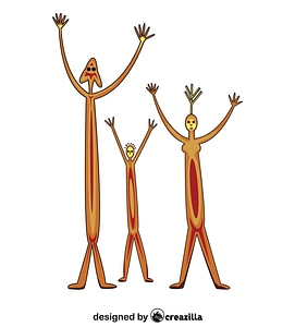 Aboriginal Rock Art Family vector