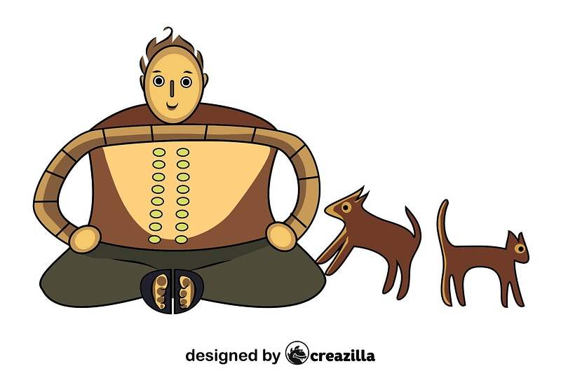 Australian Aboriginal Painting of Human with a dog and a cat vector