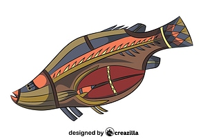 Aboriginal Cave Art Fish vector